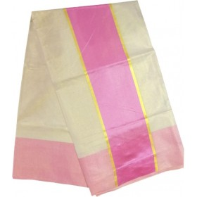 Kerala Tissue Saree With Pink Border