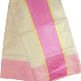 Kerala Tissue Saree With Pink Border