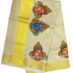 Radhakrishna Tissue Mural Print Kasavu Saree