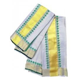 Kerala Kasavu Tissue Mundu with Lace Border