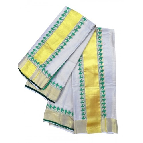Kerala Kasavu Tissue Mundu with Lace Border