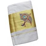 Mayilpeeli Embroidery Kasavu Settu Mundu