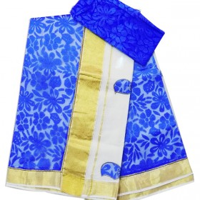 Net Patch Kasavu Saree