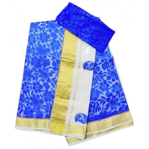 Net Patch Kasavu Saree