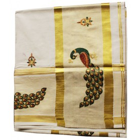 Kerala Peacock Embroidery Kasavu Saree