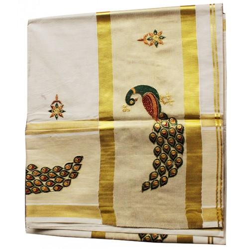 Kerala Peacock Embroidery Kasavu Saree