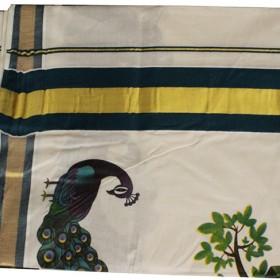 Traditional Mural Print Peacock Saree