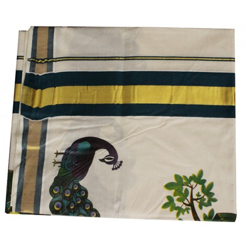 Traditional Mural Print Peacock Saree