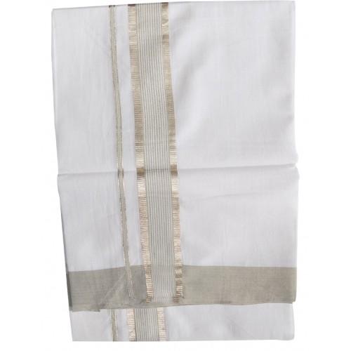 Kerala Silver and Grey combination Double Mundu