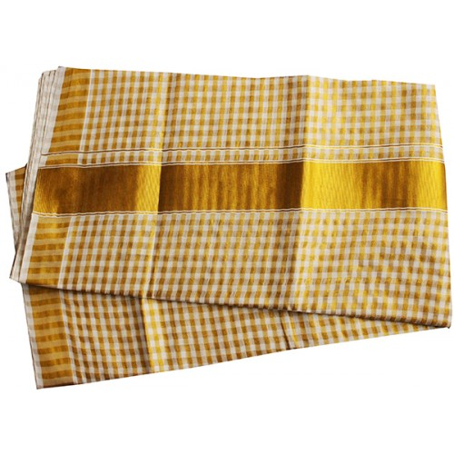 Kerala Tissue Check Kasavu Saree