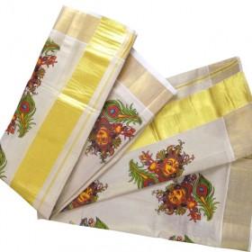 Devi Mural Design Kerala Kasavu Tissue Settu Mundu