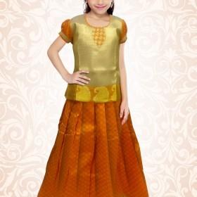Kerala Trendy Pattu Pavada Orange Brocade