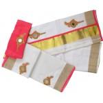 Kerala Tissue Settu Mundu Blouse Valkannadi Design