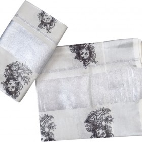 Kerala Tissue Silver Set Mundu With Krishna Design