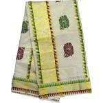 Kerala Tissue Temple Design Kasavu Saree