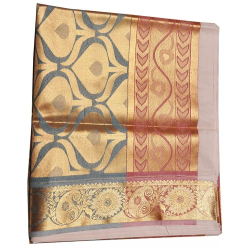Kerala Traditional colour emboss kasavu saree