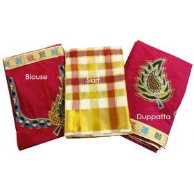 Kerala Embroidery Dhavani Set
