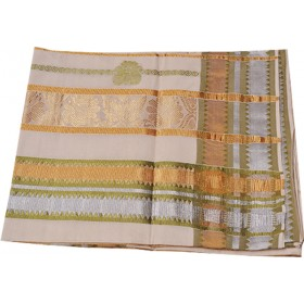 Kerala Kasavu and Silver Emboss Saree