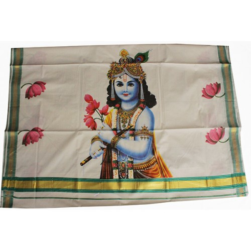 Krishna Mural Print Kasavu Saree