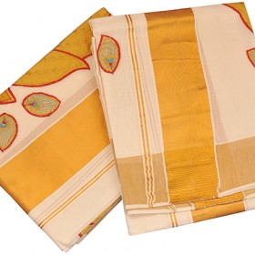 Kuthampully patch krishna embossing Kasavu Saree
