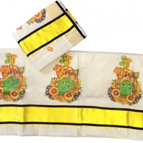Kuthampully Set Mundu Krishna Design