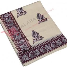 Kuthampully Special Butta Printing Kasavu Saree