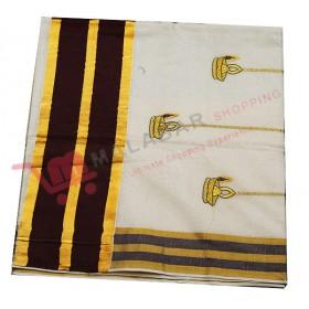 Kuthampully Special Patch Krishna Embroidery Kasavu Saree
