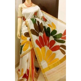 Mehndi Designed Kerala Hand Painted Saree