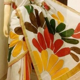 Mehndi Designed Kerala Hand Painted Saree