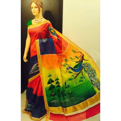 Multi Colored Hand Painted Kerala Saree