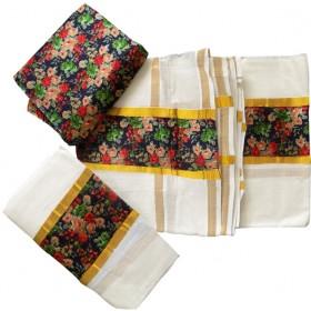 Kerala Brocade Settu Mundu With Blouse - Multi Colour