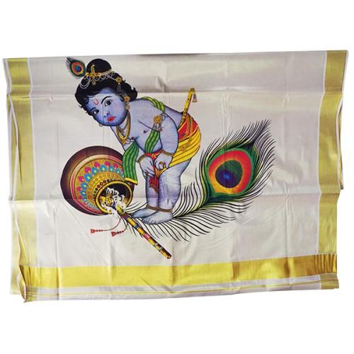 Mural Little Krishna Kasavu Saree
