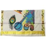 Musical Instruments Mural print Kasavu Saree