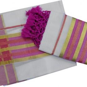 Onam Special Pink Settu Mundu With Kunchalam