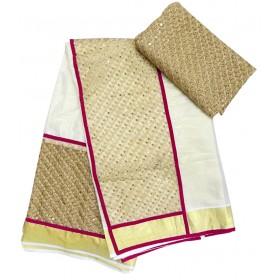 Party Wear Net Kasavu Saree
