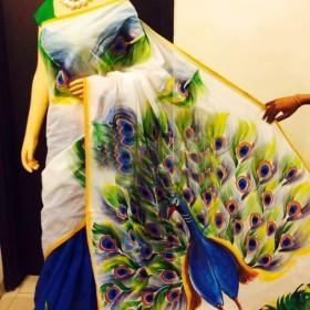 Peacock Hand Painted Kerala Saree
