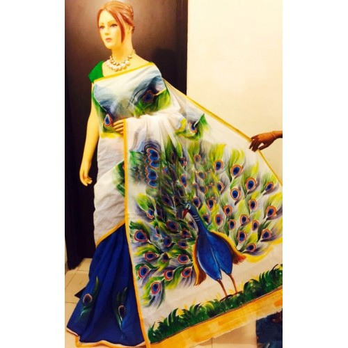 Peacock Hand Painted Kerala Saree