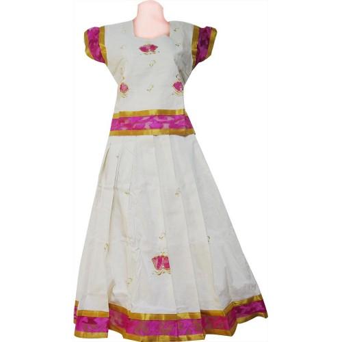 Pink Net Patch Work Kerala Kasavu Pattu Pavadai
