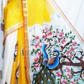 Romantic Peacock Hand Painted Kerala Saree
