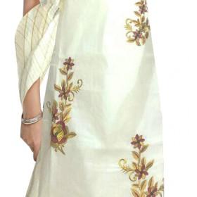 Simple Embroidery Kasavu Churidar
