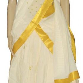 Simple Floral Embroidery Kerala Half Saree