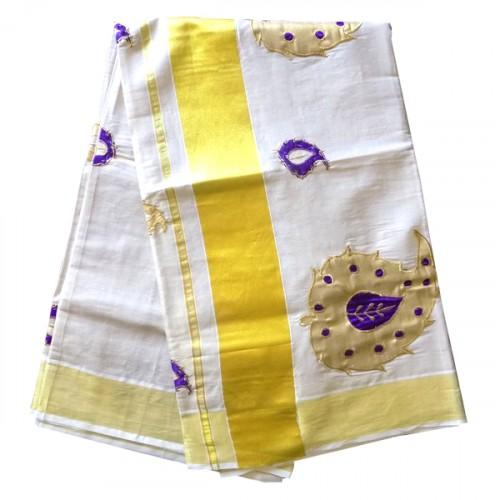 Womens Kerala Saree Full Tissue With Violet Mango Design