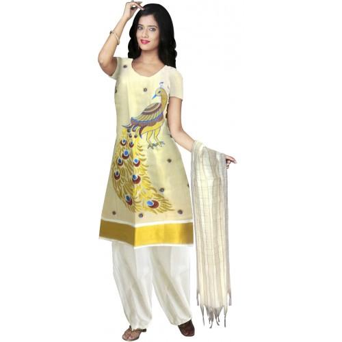 Traditional Tissue Peacock Embroidery Kasavu Churidar