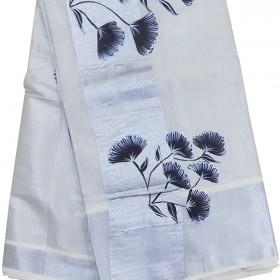 Tissue Silver Flower Paint Kasavu Saree