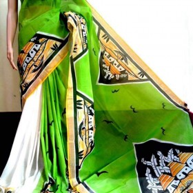 Tradition Natural Hand Painted Kerala Saree
