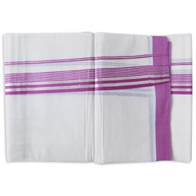 Traditional Kerala Rose With Silver Border Double Mundu