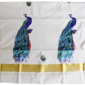 Kerala Settu Saree With Peacock Patch Work