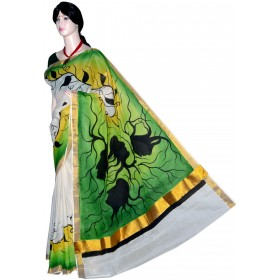 Kerala Saree Hand Painted Tree Design