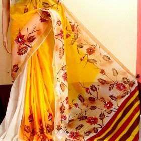Trendy Leafy Handpainted Kasavu Saree