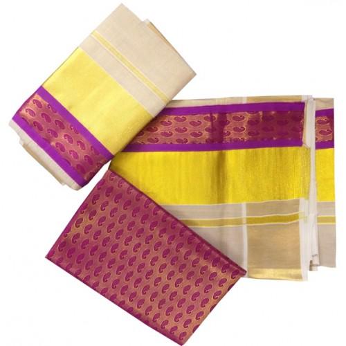 Special Tissue Kasavu Settu Mundu Red Brocade Free Blouse